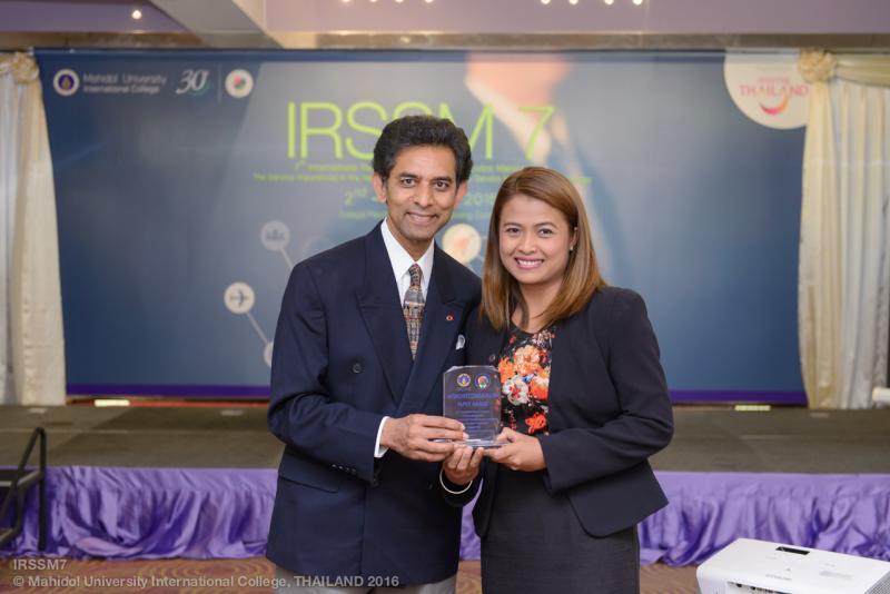 อาจารย์ ดร.วิลาวัลย์ จันทร์ศรี คณะเศรษฐศาสตร์และบริหารธุรกิจ มหาวิทยาลัยทักษิณ ได้รับรางวัล Highly Recommended Paper Award ในการประชุมวิชาการ The 7th International Research Symposium in Service Management